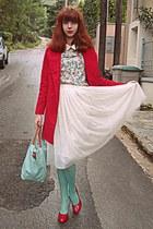 aquamarine floral romwe dress - red coat - aquamarine tights - aquamarine bag