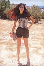 eggshell lace OASAP top - eggshell floral bag - black OASAP shorts