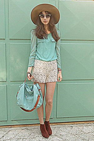 aquamarine dot romwe blouse - burnt orange H&M boots - camel H&M hat