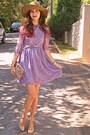 Camel-pearl-romwe-belt-light-purple-romwe-dress-camel-h-m-hat