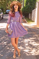 camel pearl romwe belt - light purple romwe dress - camel H&M hat