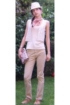 cream Stradivarius hat - coral Stradivarius scarf - cream crochet Zara vest - cr