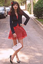 red polka dot AX Paris dress - black polka dot Stradivarius blazer - white bag