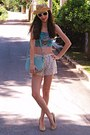 Ivory-crochet-chicwish-shorts-light-yellow-hat-aquamarine-bag