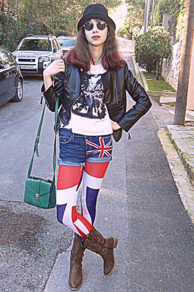 brown cowboy boots - red union jack romwe leggings - green bag