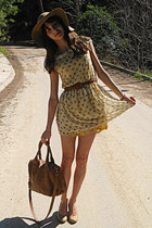 camel H&M hat - cream dress - bronze Mimi Boutique bag - nude Steve Madden heels