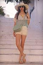 light yellow OASAP shorts - aquamarine bag - aquamarine VJ-style top