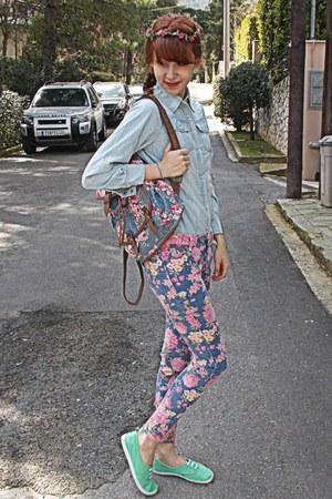 bubble gum floral romwe jeans - light blue denim romwe shirt