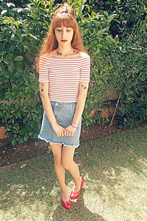white romwe top - light blue denim romwe skirt - red Ebay heels