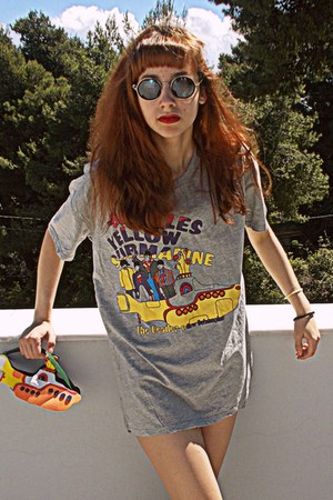 yellow DIY bag - dark gray romwe sunglasses - silver the beatles romwe t-shirt