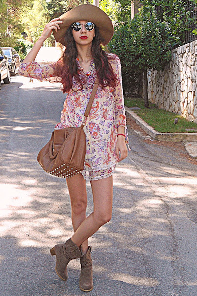 light yellow paisley romwe dress - camel boots - camel H&amp;M hat