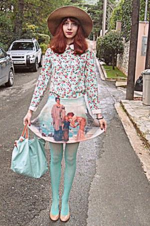 aquamarine floral collar romwe dress - camel H&M hat - aquamarine H&M tights