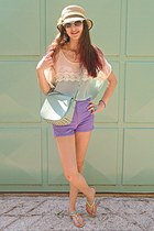 aquamarine VJ-style top - aquamarine bag - amethyst OASAP shorts