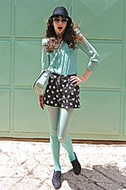 black heart shorts - black oxford shoes - black hat - aquamarine tights
