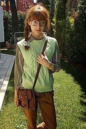 camel tribal romwe shirt - tan oxfords Topshop shoes - brown bag
