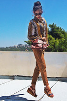 tawny Stradivarius pants - brown Stradivarius bag - navy wedges
