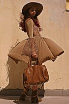 bronze Mimi Boutique bag - camel cowboy boots - camel rare london dress