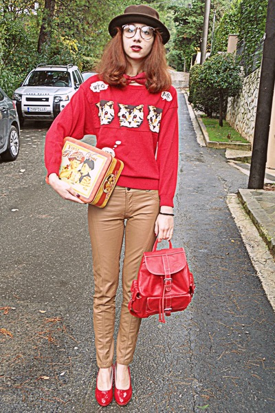 dark brown romwe hat - red cat romwe sweater - red backpack bag
