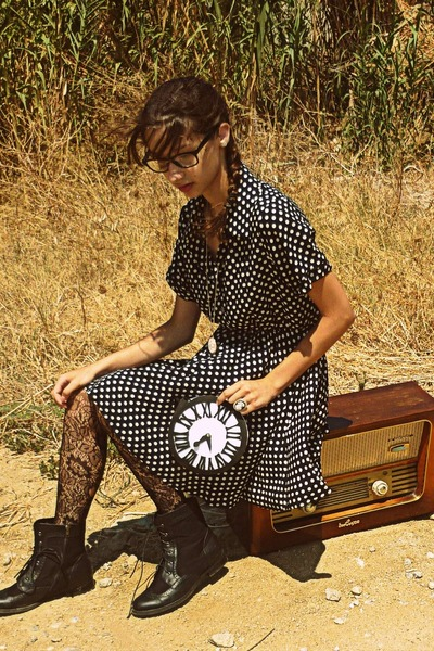 white clock DIY bag - black boots - navy polka dot Dorothy Perkins dress