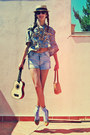 Camel-longchamp-bag-light-blue-zara-shorts-brown-polaroid-sunglasses-camel