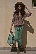 beige floral necessary clothing blouse - camel cowboy boots - camel H&M hat