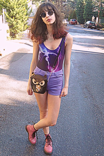 pink OASAP boots - black bag - light purple OASAP shorts