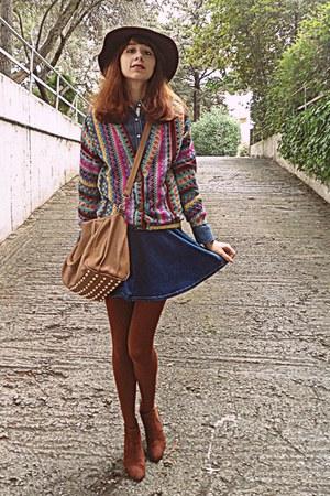blue denim romwe skirt - burnt orange H&M boots - maroon H&M hat