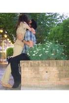black jeans - blue shirt - beige pull&bear top - beige pants - tan shoes Topshop