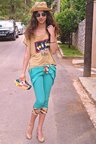 turquoise blue capri romwe pants - yellow DIY bag - romwe sunglasses