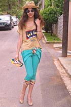turquoise blue capri romwe pants - yellow DIY bag - romwe sunglasses