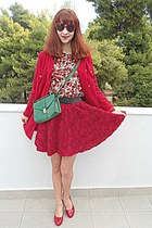 white floral romwe shirt - ruby red coat - green Accessorize bag