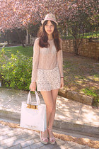 neutral lace Zara top - ivory hat - ivory ted baker bag