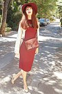 Crimson-ebay-dress-beige-barbour-coat-maroon-h-m-hat-crimson-bag