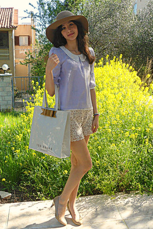 ivory ted baker bag - camel H&M hat - ivory crochet Chicwish shorts
