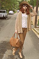 camel H&M hat - beige Burberry shirt - bronze bag - neutral Steve Madden heels