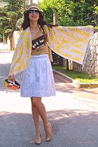 yellow little darling Quotation Marks scarf - yellow DIY bag - romwe sunglasses
