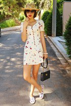 red strawberry DIY sneakers - ivory Koogul dress - hat - navy vintage bag