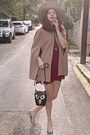 Maroon-studded-stradivarius-dress-camel-h-m-hat-black-owl-bag