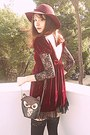 Brick-red-velvet-romwe-dress-brick-red-boots-maroon-h-m-hat-black-owl-bag