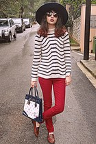 navy bag - navy Zara hat - white striped Zara sweater - ruby red pants