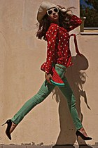 red watermelon DIY bag - ivory hat - ivory sunglasses - black OASAP heels
