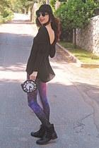 light purple flower Koogul earrings - black boots