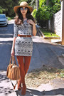 Burnt-orange-h-m-boots-white-tribal-print-pop-couture-dress-camel-h-m-hat