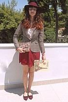 tan plaid blazer - maroon H&M hat - eggshell floral Accessorize bag