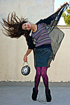white clock DIY bag - black lace tights - magenta tights