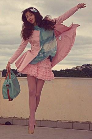 light pink petticoat Chicwish skirt - light pink romwe coat