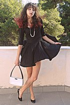 black OASAP heels - black Coco Fashion dress - black fascinator hat