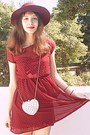 Maroon-studded-stradivarius-dress-maroon-h-m-hat