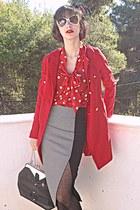 red polka dot H&M blouse - red VJ-style coat - black suit VJ-style bag