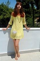 yellow lace dress - white studded romwe bag - neutral Zara heels